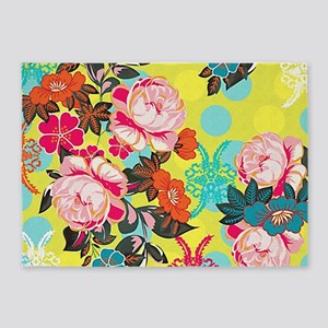 Bright & Fun Yellow, Pink & Blue Floral 5'x7'Area