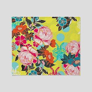 Bright & Fun Yellow, Pink & Blue Floral Throw Blan