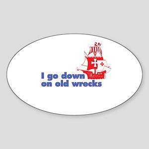 Old Wrecks Oval Sticker