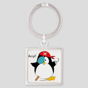 Pirate Penguin Square Keychain
