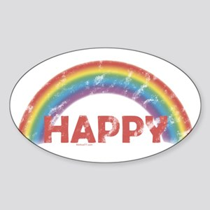 Happy Oval Sticker