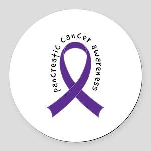 Pancreatic Cancer Ribbon Round Car Magnet