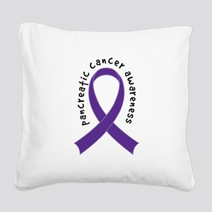 Pancreatic Cancer Ribbon Square Canvas Pillow