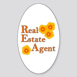Real Estate Agent Oval Sticker