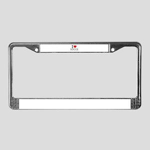 I Love Soccer License Plate Frame