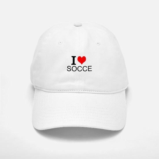 I Love Soccer Baseball Baseball Baseball Cap
