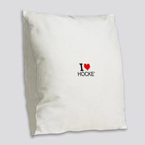 I Love Hockey Burlap Throw Pillow