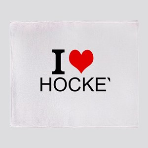 I Love Hockey Throw Blanket