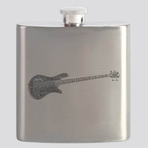 Electric Bass Shaped Word Cloud Flask