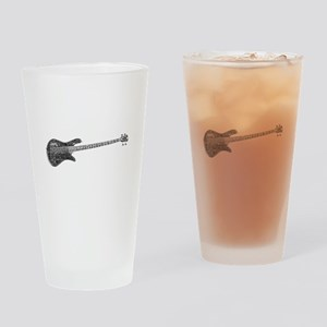 Electric Bass Shaped Word Cloud Drinking Glass