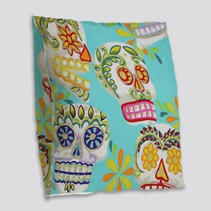 Modern Fun Decorative Sugar Skulls Burlap Throw Pi