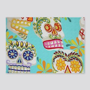 Modern Fun Decorative Sugar Skulls 5'x7'Area Rug