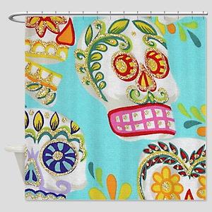 Modern Fun Decorative Sugar Skulls Shower Curtain