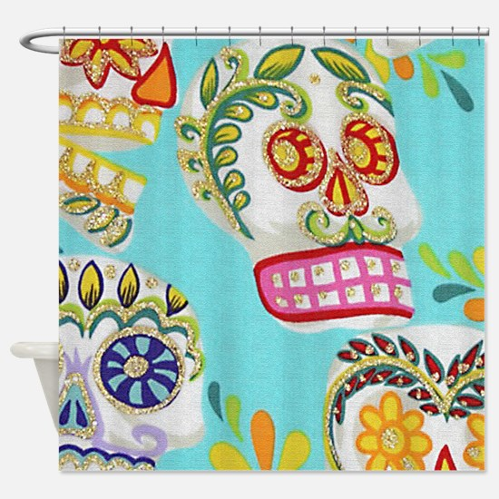 Modern Fun Decorative Sugar Skulls Shower Curtain