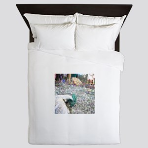 rooster foreground photo sparkle teal Queen Duvet