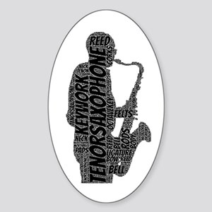Tenor Sax Player Silhouette Word Cloud (Black Text