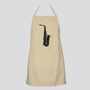 Alto Sax Shaped Word Cloud (Black Text) Apron