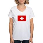 SWISS CROSS FLAG Women's V-Neck T-Shirt