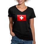 SWISS CROSS FLAG Women's V-Neck Dark T-Shirt
