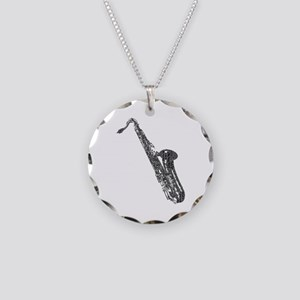 Tenor Sax Shaped Word Cloud (Black Text) Necklace