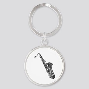 Tenor Sax Shaped Word Cloud (Black Text) Keychains