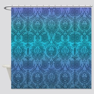 Blue Wallpaper Shower Curtain