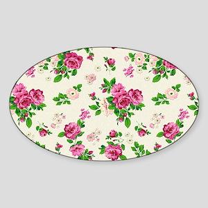 Pink Green Cream Roses Flor Sticker