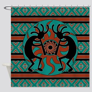 Turquoise Kokopelli Shower Curtain