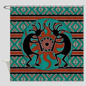 Turquoise Kokopelli Shower Curtain