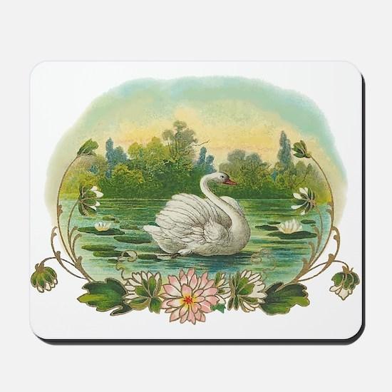 Swimming Swan Mousepad