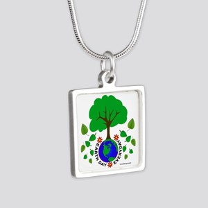 Earth Day Everyday Silver Square Necklace