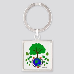 Earth Day Everyday Square Keychain