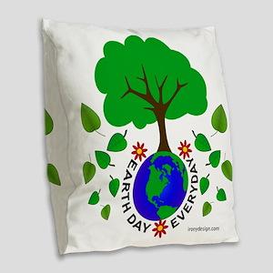 Earth Day Everyday Burlap Throw Pillow