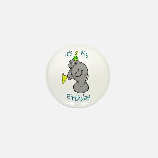 Birthday Manatee Mini Button