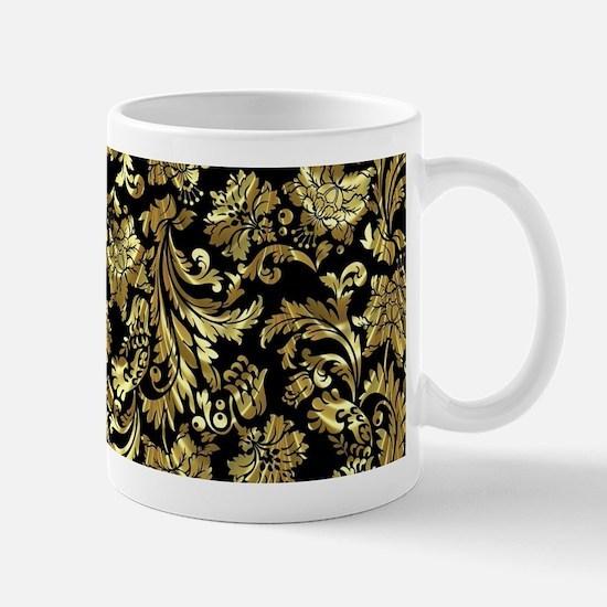 Black And Metallic Gold Floral Damasks Mugs