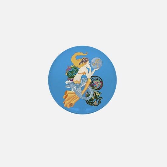 celtic a for aquarius mermaid Mini Button