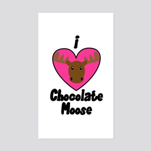 I Love Chocolate Moose Rectangle Sticker