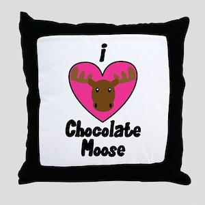 I Love Chocolate Moose Throw Pillow