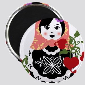 Nesting Doll In Flowers Magnets