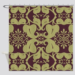 Ornate Burgundy And Gold Shower Curtain