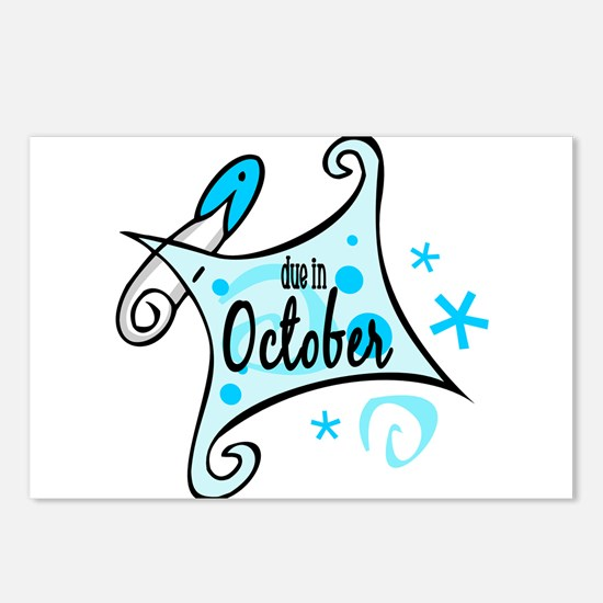 Due in October [Blue] Postcards (Package of 8)
