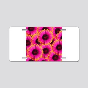 Bright Orange and Pink Flower Aluminum License Pla