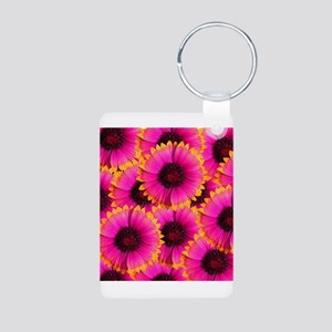 Bright Orange and Pink Flower Keychains