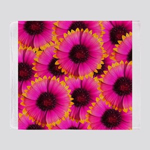Bright Orange and Pink Flower Throw Blanket