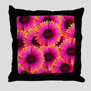 Bright Orange and Pink Flower Throw Pillow
