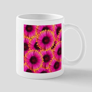 Bright Orange and Pink Flower Mugs