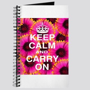 Keep Calm and Carry On Pink Floral Journal