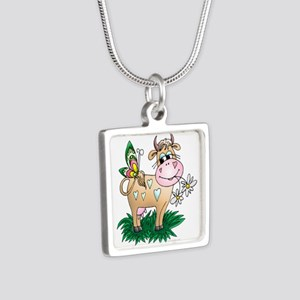 Cow & Butterfly Silver Square Necklace