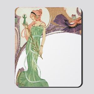 Woman in Green Dress Mousepad