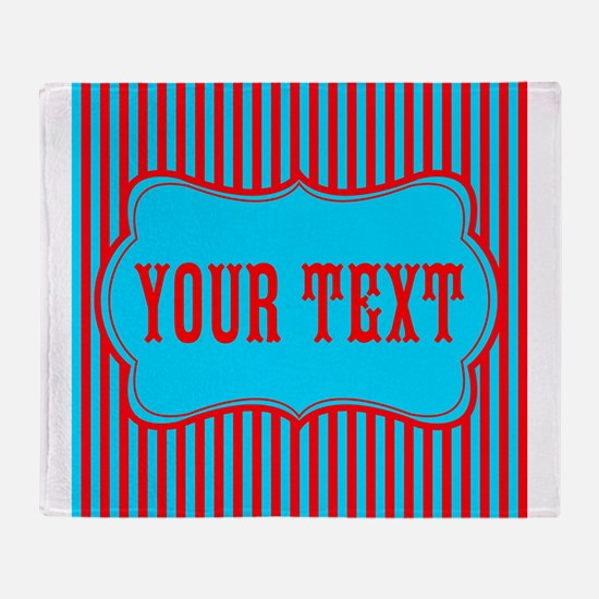 Personalizable Red and Teal Striped Throw Blanket